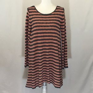 FREE PEOPLE SWING TUNIC STRIPE SWEATER DRESS